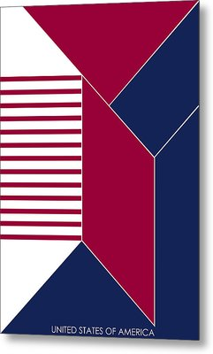 United States Of America IIi - Text Metal Print by Asbjorn Lonvig