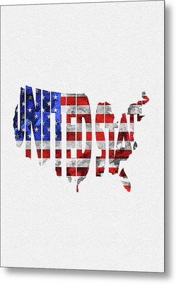 United States Typographic Map Flag Metal Print