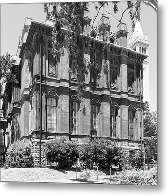 University Of California Berkeley Historic South Hall And The Campanile Dsc4058 Square Bw Metal Print by Wingsdomain Art and Photography