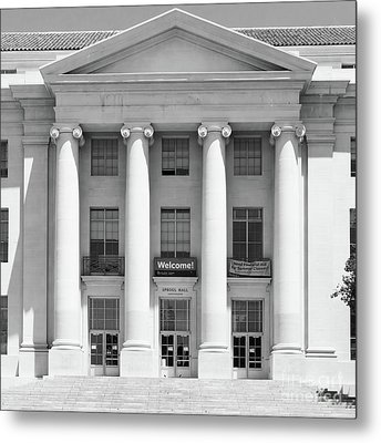 University Of California Berkeley Historic Sproul Hall At Sproul Plaza Dsc4081 Square Bw Metal Print by Wingsdomain Art and Photography