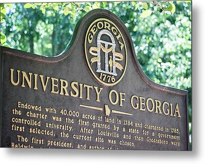 Metal Print featuring the photograph University Of Georgia Sign by Parker Cunningham