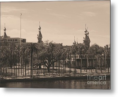 University Of Tampa With Old World Framing Metal Print by Carol Groenen