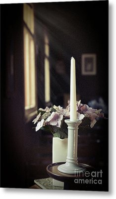 Unlit Candle In Old Church Metal Print