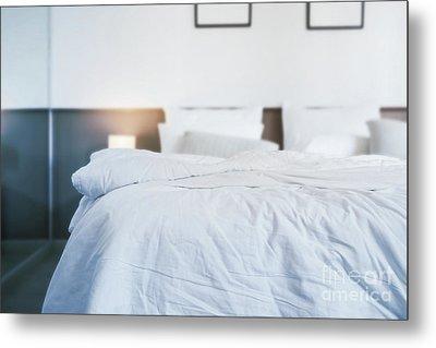Unmade Bed Metal Print by Atiketta Sangasaeng