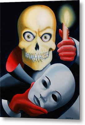 Unmasked - Skull Oil Painting Metal Print by Mark Webster