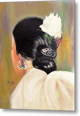 Untitled Dancer With White Flower Metal Print