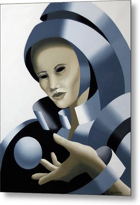 Untitled Futurist Mask Oil Painting Metal Print by Mark Webster