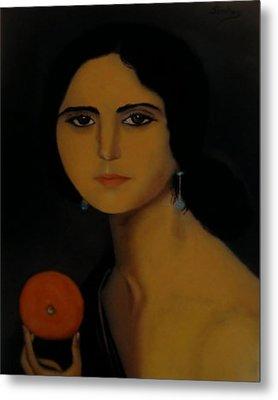 Untitled Woman With Orange Metal Print by Manuel Sanchez