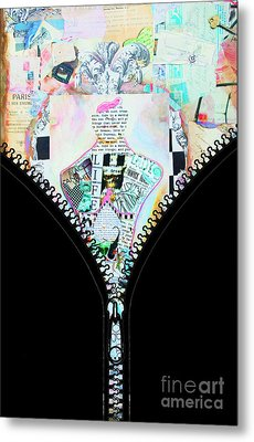 Unzipped Original Woman Metal Print by WALL ART and HOME DECOR