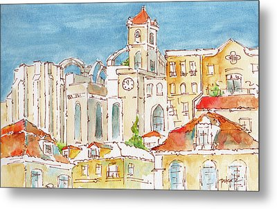 Metal Print featuring the painting Up From Rossio Square by Pat Katz