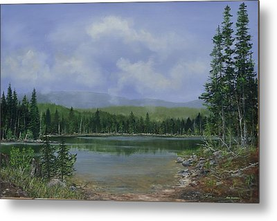 Metal Print featuring the painting Upland Lake by Ken Ahlering