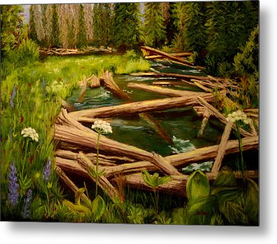 Metal Print featuring the painting Upper Deschutes by Nancy Jolley