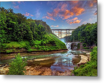 Upper Falls At Sunset Metal Print