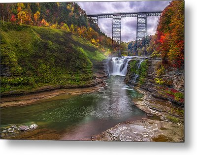Upper Falls In Fall Metal Print
