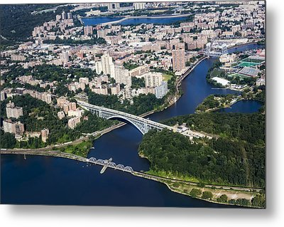 Upper Manhattan Aerial View Metal Print by Susan Candelario