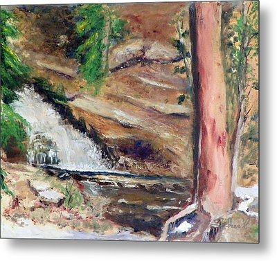 Metal Print featuring the painting Upper Provo River Falls by Sherril Porter
