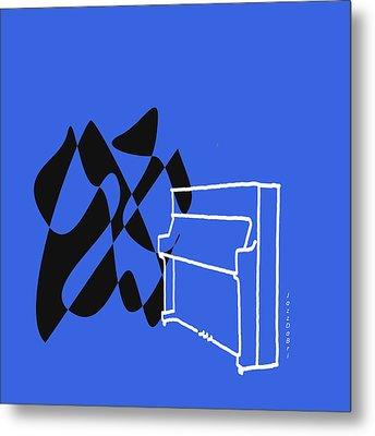 Upright Piano In Blue Metal Print