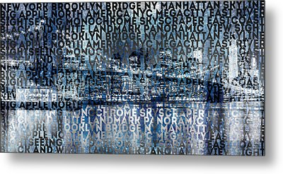 Urban-art Nyc Brooklyn Bridge I Metal Print by Melanie Viola