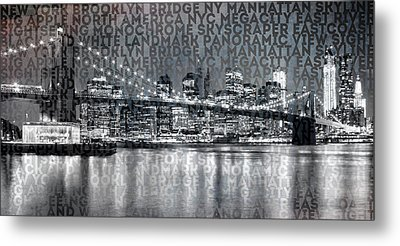Urban-art Nyc Brooklyn Bridge IIi Metal Print by Melanie Viola