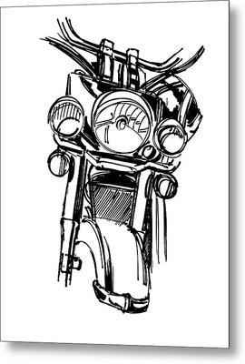 Urban Drawing Motorcycle Metal Print by Chad Glass