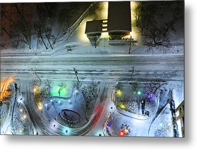 Metal Print featuring the photograph Urban Road And Driveway In Fresh Snow by Charline Xia