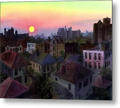 Metal Print featuring the painting Urban Sunset by Sergey Zhiboedov