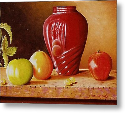 Metal Print featuring the painting Urn An Apple by Gene Gregory