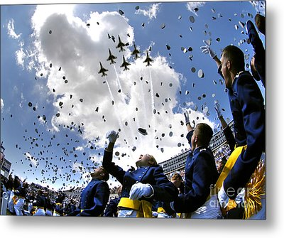 U.s. Air Force Academy Graduates Throw Metal Print by Stocktrek Images
