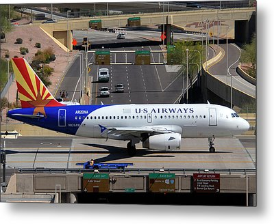 Us Airways Airbus A319-132 N826aw Arizona At Phoenix Sky Harbor March 16 2011 Metal Print by Brian Lockett