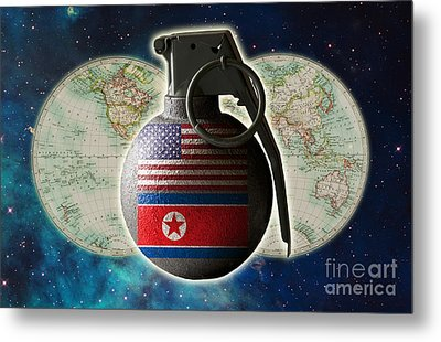 U.s. And North Korean Conflict Metal Print by George Mattei