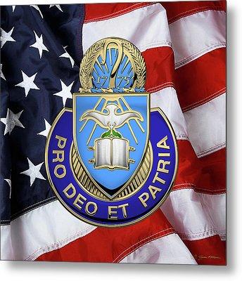 Metal Print featuring the digital art U.s. Army Chaplain Corps - Regimental Insignia Over American Flag by Serge Averbukh