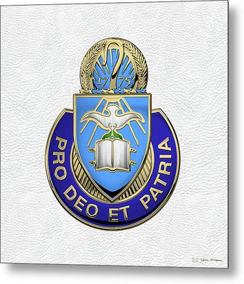 Metal Print featuring the digital art U.s. Army Chaplain Corps - Regimental Insignia Over White Leather by Serge Averbukh