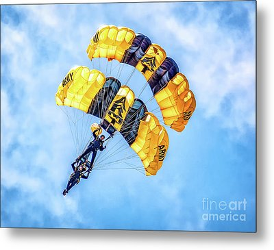 Metal Print featuring the photograph U.s. Army Golden Knights by Nick Zelinsky