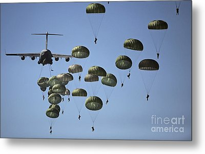 U.s. Army Paratroopers Jumping Metal Print by Stocktrek Images