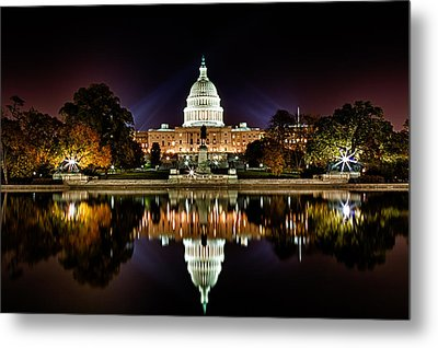 Us Capitol Building And Reflecting Pool At Fall Night 1 Metal Print