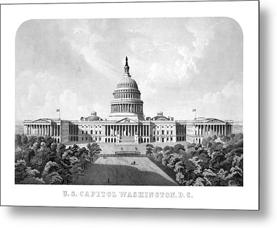 Us Capitol Building - Washington Dc Metal Print by War Is Hell Store