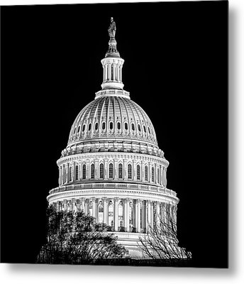 Us Capitol Dome In Black And White Metal Print