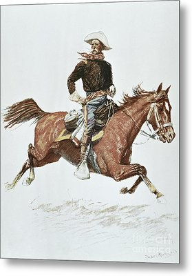 Us Cavalry Officer In Campaign Dress Of The 1870s Metal Print