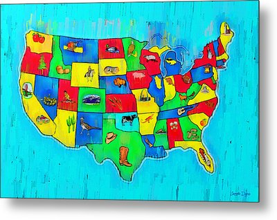 Us Map With Theme  - Free Style -  - Da Metal Print