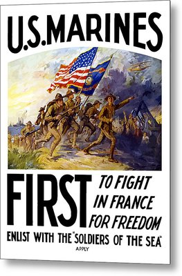 Us Marines - First To Fight In France Metal Print by War Is Hell Store