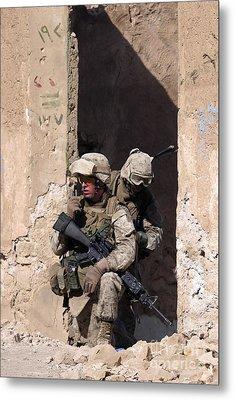 U.s. Marines Taking Cover In An Metal Print by Stocktrek Images