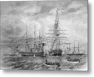 U.s. Naval Fleet During The Civil War Metal Print by War Is Hell Store
