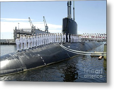U.s. Navy Crew Members Stand On Uss Metal Print by Stocktrek Images