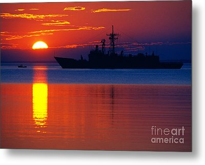 Us Navy Destroyer At Sunrise Metal Print by Thomas R Fletcher