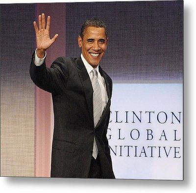 U.s. President Barack Obama At A Public Metal Print by Everett