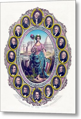 Us Presidents And Lady Liberty  Metal Print by War Is Hell Store