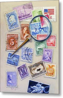 U.s. Stamp Collection Metal Print by Oz Freedgood