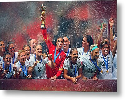Us Women's Soccer Metal Print by Semih Yurdabak