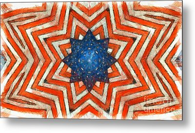 Metal Print featuring the digital art Usa Abstract by Edward Fielding