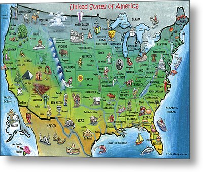 Usa Cartoon Map Metal Print by Kevin Middleton